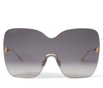 Zelma Sonnenbrille im Maskenstil aus Metall in Kupfergold mit grauen getönten Gläsern