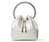 BON BON Handtasche aus Satin in Elfenbeinweiß