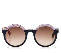 Glam Sonnenbrille mit rundem Gestell aus blauem mehrfarbigen Acetat mit Glitzer