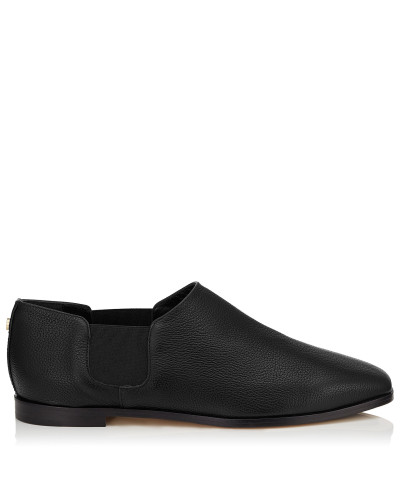 Glint Flat Flache Schuhe aus schwarzem genarbten Leder