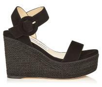 Abigail 100 Schuhe aus schwarzem Wildleder mit kompaktem Wedge und Kordelverzierung