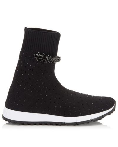 Regena Sneaker aus schwarzem Gewebe mit Kristalldetails