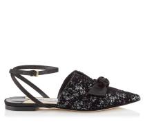 Temple Flat Flache spitze Schuhe aus Glitzer-Samt mit Dévoré in Anthrazit und schwarzem Samt