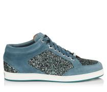 Miami Sneaker aus Wildleder in Dämmerungsblau und Glitzergewebe in Mitternachtsblau