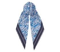 Maude Schultertuch aus Kaschmir und Baumwolle in olympischem Blau mit Print