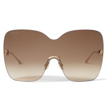 Zelma Sonnenbrille im Maskenstil aus Metall in Rose Gold mit braun getönten Gläsern