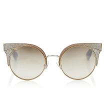 ORA Sonnenbrille mit metallischem Gestell und silbernen und goldenen Glitzerdetails