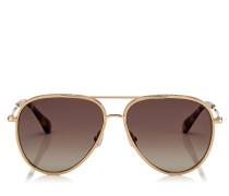 Triny Aviator Sonnenbrille mit braunen polarisierten schattigen Gläsern, goldenem metallischen Gestell