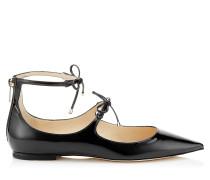 Sage Flat Flache spitze Schuhe aus schwarzem Lackleder