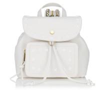 Suki Rucksack aus weißem Leder mit Sternen