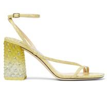 ART 85 Sandaletten aus sonnengelbem gebleichtem Leder mit Schlangen-Print und Gel-Optik