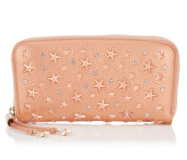 Filipa Navy Pearlised Deerskin Wallet with Crystal Stars
