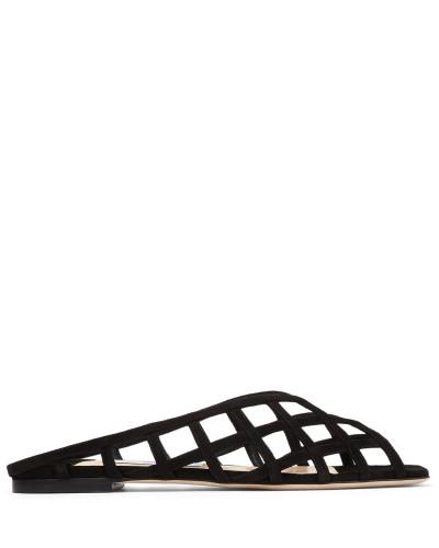 SAI Flat Flache Schuhe aus schwarzem Wildleder