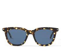 GAD Eckige Sonnenbrille aus Acetat in Havana-Gelb mit blauen Gläsern