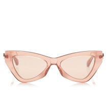 Donna Cat-Eye Sonnenbrille mit rosanen und silbernen Brillengläsern