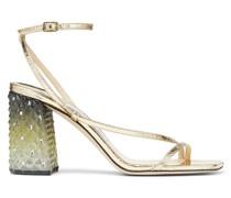 ART 85 Sandaletten aus goldenem Craquelé-Leder mit Blockabsatz aus Plexi