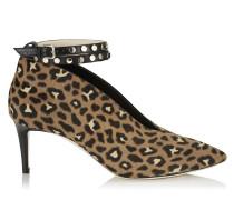 Lark 65 Stiefeletten aus Leder mit Fell-Print und Leopardenmotiv