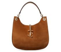 Varenne Hobo/m Handtasche aus braunem Wildleder und Trageriemen aus glattem Kalbsleder