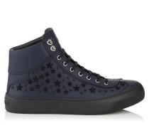 Argyle High-Top-Sneaker aus dunkelblauem Kalbsleder mit schwarzen Sternen