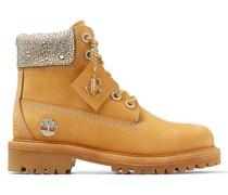 JC X Timberland/f Stiefel aus weizenfarbenem Nubukleder mit kristallverziertem Schuhkragen