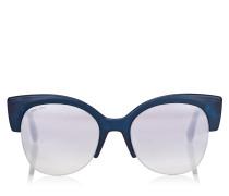 Priya Ovale Sonnenbrille aus Acetat in Dunkelblau mit Glitzerdetails