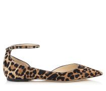 Lucy Flat Spitze Ballerinas aus Leder mit Fell-Print und Leopardenmotiv