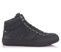 Belgravia Sneaker aus schwarzem Nubuckleder mit Relief und stahlfarbenen Sternen