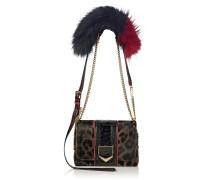 Lockett Petite Handtasche aus Leder mit Fell-Print und Leopardenmotiv mit Felldetails