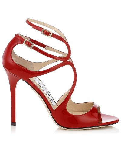 Lang Lackleder-Sandaletten in Rot