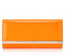 Milla Abend-Clutch aus orangenem Neon-Lackleder und Wildleder