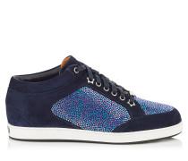 Miami Sneaker aus blauem Wildleder mit Kristall