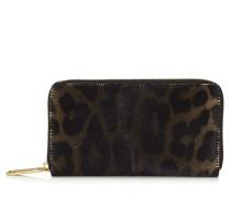 Milly Brieftasche aus Leder mit Fell-Print und Leopardenmotiv