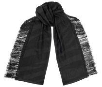 Stole Halstuch aus schwarz gewebtem Jacquard mit Zebra-Print und Fransen