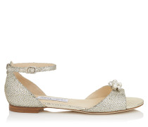 Tori Flat Sandalen mit Glitzerstoff und abnehmbaren Juwelen