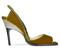 BEL 100 Sandaletten aus zitrusfarbenem Samt mit Kristallsteinverzierung