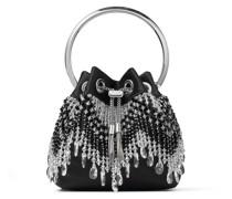 BON BON Handtasche aus schwarzem Satin mit Kristallfransen
