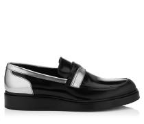 Mitch Loafer aus schwarzem glänzenden Kalbsleder und silbernem Glanzleder