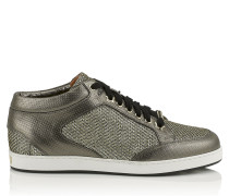 Miami Sneaker aus Leder mit Print und Glitzer in Hellbronze