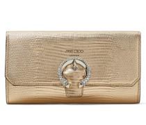 Wallet W/chain Brieftasche aus goldenem Leder mit Eidechsen-Print und Metallic-Optik