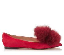 Gale Flat Spitze Ballerinas aus rotem Wildleder mit Fuchsfell