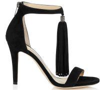 Viola 100 Sandalen aus schwarzem Wildleder mit Quasten
