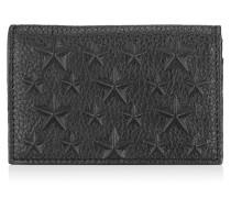 Belsize Schwarzes Kartenetui aus geprägtem Leder mit Sternen