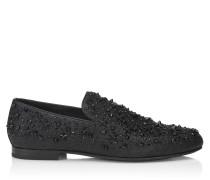 Sloane Mokassins aus schwarzem Glitzergewebe mit Sternen und Kristall