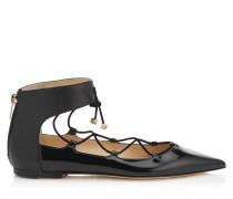 Glisten Flat Spitze flache Schuhe mit Schnürdetails aus schwarzem Lackleder und Nappaleder