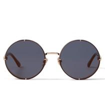 Lilo Runde Sonnenbrille in Blau und Gold mit gold getönten Gläsern