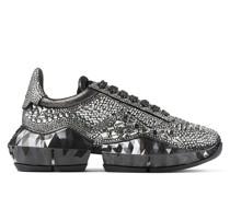 Diamond/F Sneaker aus rauchgrauem Wildleder in Metallic-Optik mit Kristall-Appliqué