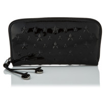 Filipa Brieftasche aus schwarzem Lackleder mit Sternen