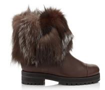 Dana Flat Stiefel aus dunkelbraunem Leder mit Fuchsfell