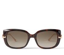 Orla Eckige Sonnenbrille in dunklem Havana mit Brillenbügeln in Rose Gold und JC Emblem