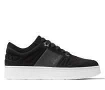 Hawaii/f Sneakers aus schwarzem Wildleder mit schwarzem Glitzerstreifen